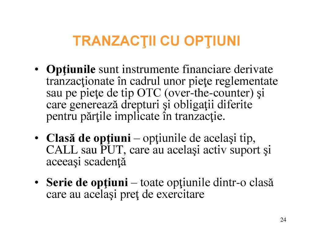 tipuri de tranzacții opțiune