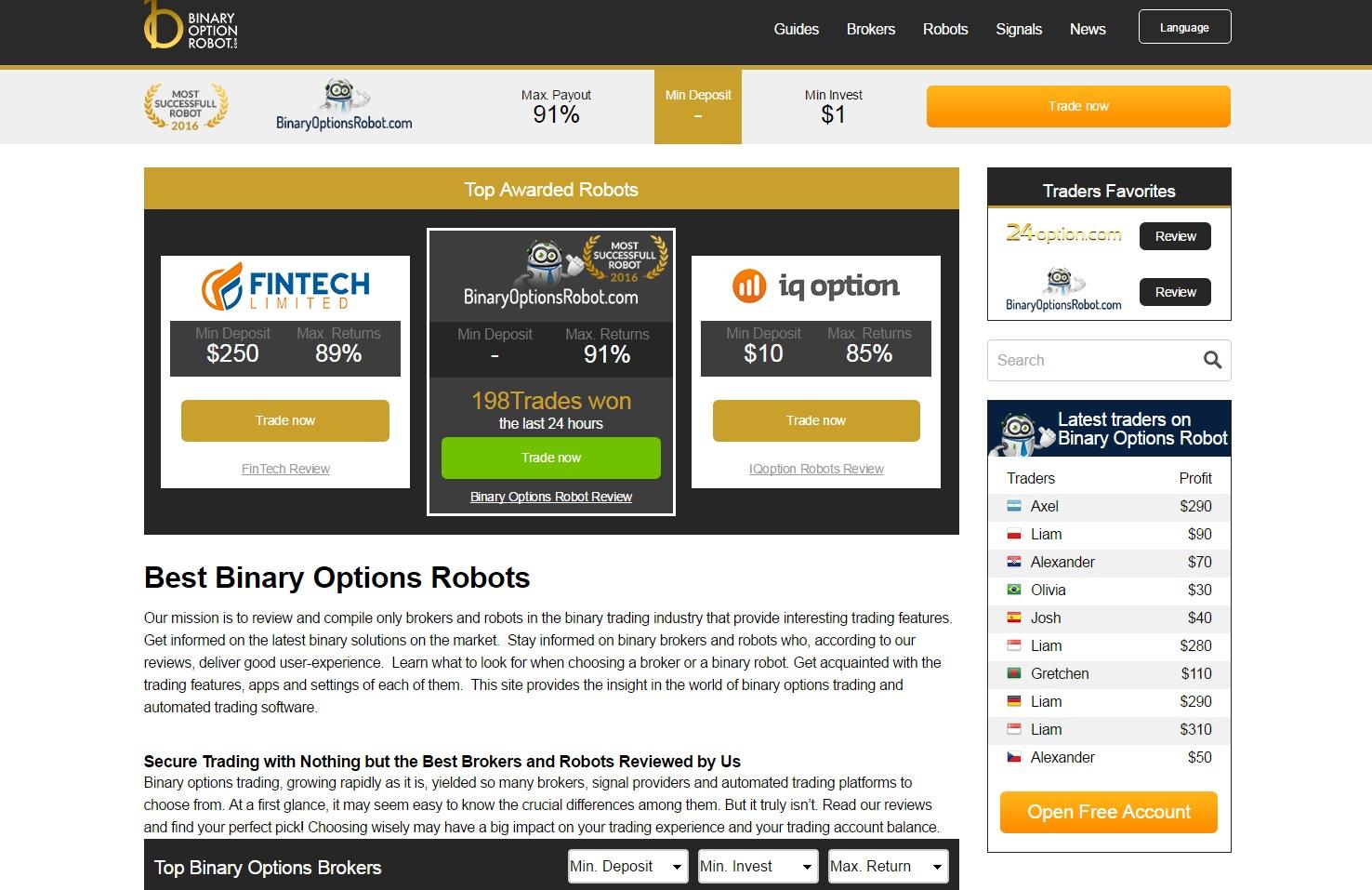 semnale pentru robotul cu opțiuni binare câștigați bani online ușor